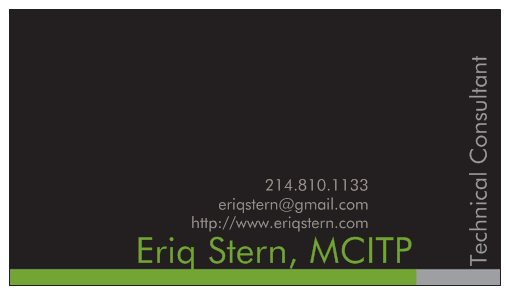 Eriq Stern Business Card